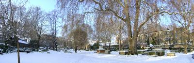 Photo of St George's Gardens covered in snow in Bloomsbury, London, taken on 2009-02-03